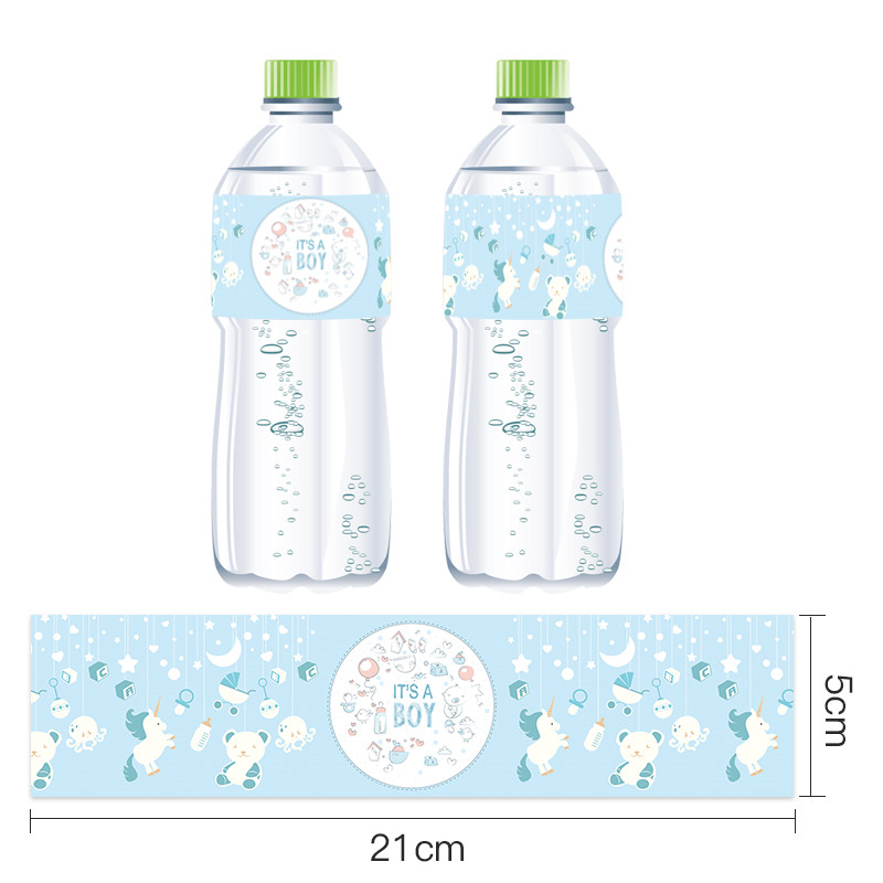 Omilut 12pcs Baby Shower Decoration Girl Boy Mineral Water Bottle Stickers Unicorn Baby Shower Birthday Party Bottle Label Suppl in Party DIY Decorations from Home Garden