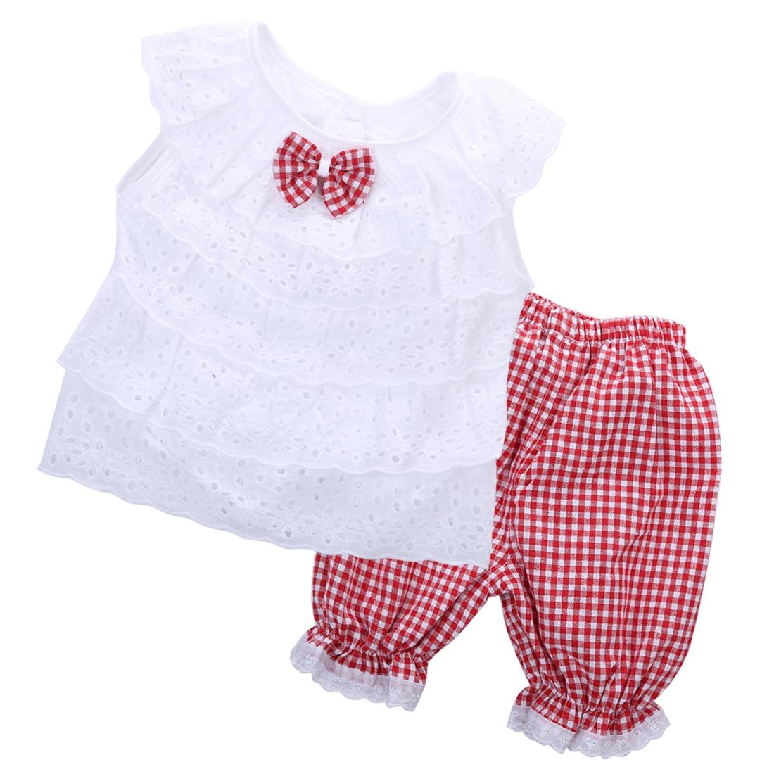 47ee9915ffca7 طفل 2 قطع مجموعة الملابس! 2016 أزياء طفل أطفال الطفلات الصيف الزي ملابس  الرباط القمم + منقوشة السراويل