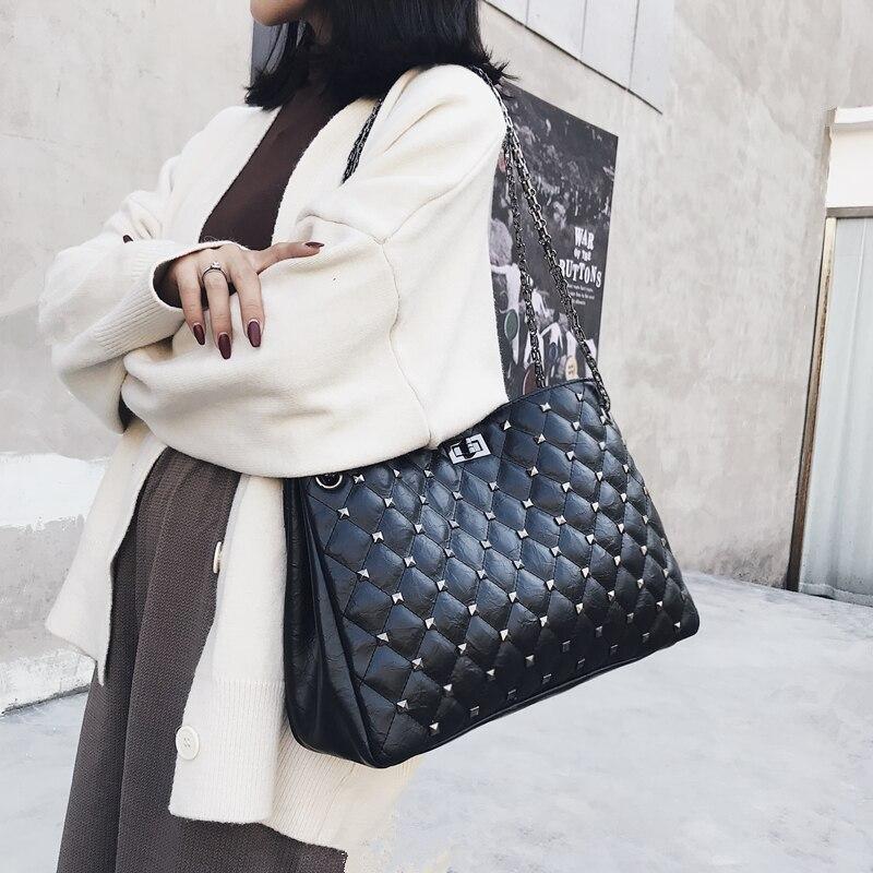 все цены на High Quality Leather Handbags Big Rivet Women Bag Female Fashion Rivet Tote Bags Designer Brand Shoulder Bag Lady Large Bolsos