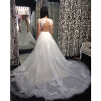 Elegant White Detachable Lady Long Skirts Tulle Train Maxi Tutu Skirt For Women Custom Made Lace Appliqued Wedding Overskirt