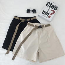 Sashes Elastic Waist Korean Shorts Summer Harajuku Streetwear Cargo Women Solid Color Pockets Chic Black Short Feminino