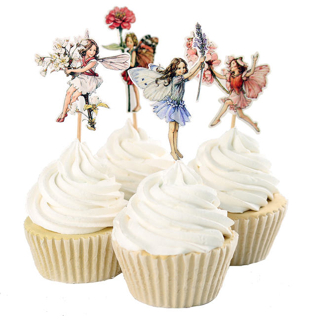 48pcs Flower Fairy Cupcake Toppers Picks for Birthday Decorations