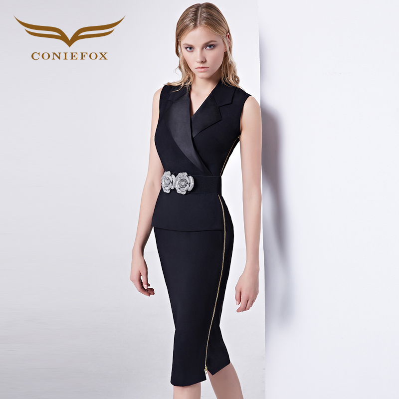 Buy Cheap CONIEFOX 38102 Mini Black Cocktail Dresses Sequined Mesh Summer Styles New Arrival Elegant Birthday Prom Dress Vestido
