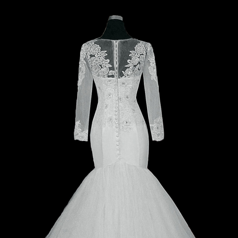 2019 African Sexy Lace Mermaid Wedding Dress Long Illusion Sleeve Bridal Gowns Vestido De Novia