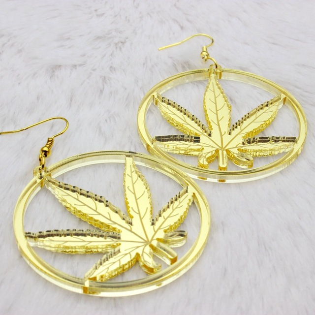 New Hip Hop Women Golden Cannabiss Weed Dangle Earring Chunky Pot Leaf Weed Earrings Night Club Lady Girls Dancer Jewelry 3