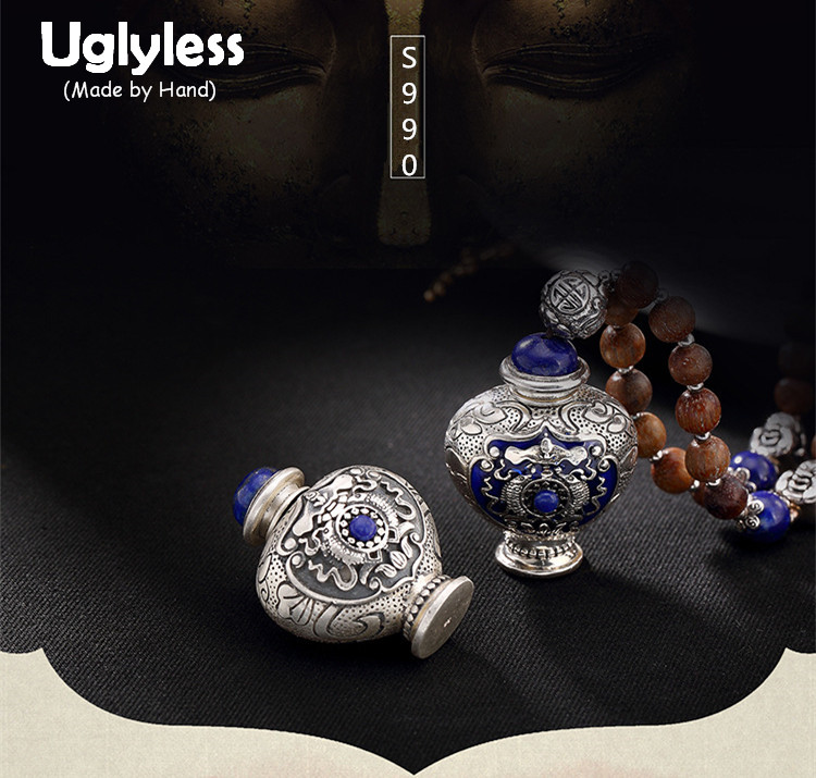 Uglyless Real 999 Fine Silver Unisex Buddhism Gaudencio Box Pendants without Chains Openable Lapis Jewelry Engraved Totem Fishes geometric sun totem engraved jewelry set
