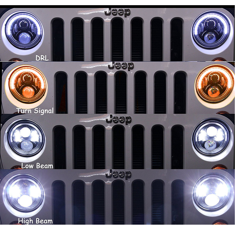 7 Inch Round DOT Approved Hi/Lo Beam LED Headlights With Half Halo Ring Angel Eyes DRL For Jeep Wrangler JK TJ LJ 1997 - 2017 7 inch 120w 9000 lumen hi lo beam led headlights with half top halo ring angel eyes drl turn signal for jeep wrangler jk tj lj
