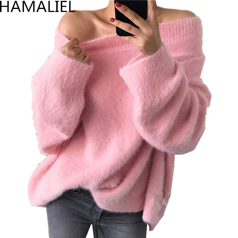 HAMALIEL Sexy Off Shoulder Women Plus Size Knitting Sweater Jumper Autumn Pink Mohair Soft Warm Ladies Casual Loose Pullover