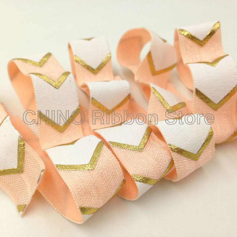 High Quality Chevron Print Fold Over Elastic 10 Yards 5/8 Peach Arrow FOE Ribbon for Hair Tie DIY Head wear Hair Accessory