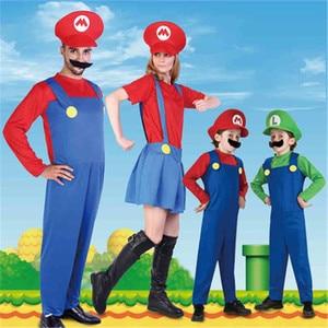 Image 2 - Disfraces de Super Mario Luigi Bros para niños y adultos, Cosplay de Halloween, conjunto de disfraces, uniforme de dibujo de Mario, ropa para padres e hijos