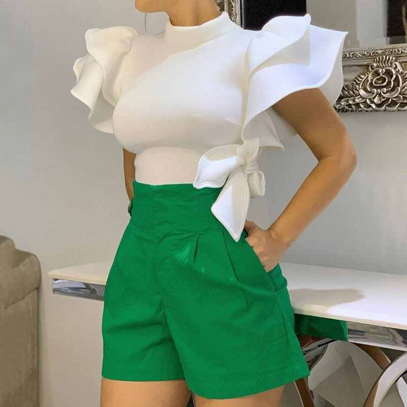 Afrikaanse Vrouwen Tops Blouse Wit 2019 Zomer Ruches Mouwen Strik Stand Kraag office Lady Tops Slim Chic Shirts Plus Size