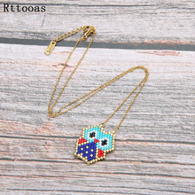 Rttooas Handmade MIYUKI Delicas Seed Bead Necklace Summer Holiday Beach Simple Charm Animal Lovely OWL Pendant