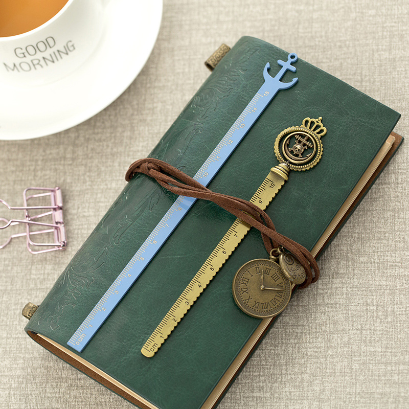 Straight Ruler For Notebook Creative Vintage Metal Brass Ruler Rudder Boat Anchor Bookmark Rulers For Gift School Supplies