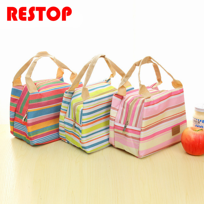 Portable Stripe Insulated Oxford Lunch Bag Thermal Food Picnic Lunch Bags for Women kids Men Cooler Lunch Box Bag Tote RES296