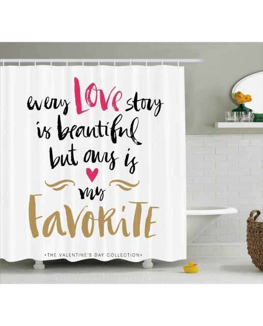 Valentines Day Shower Curtain Romantic Quote Print For Bathroom ...