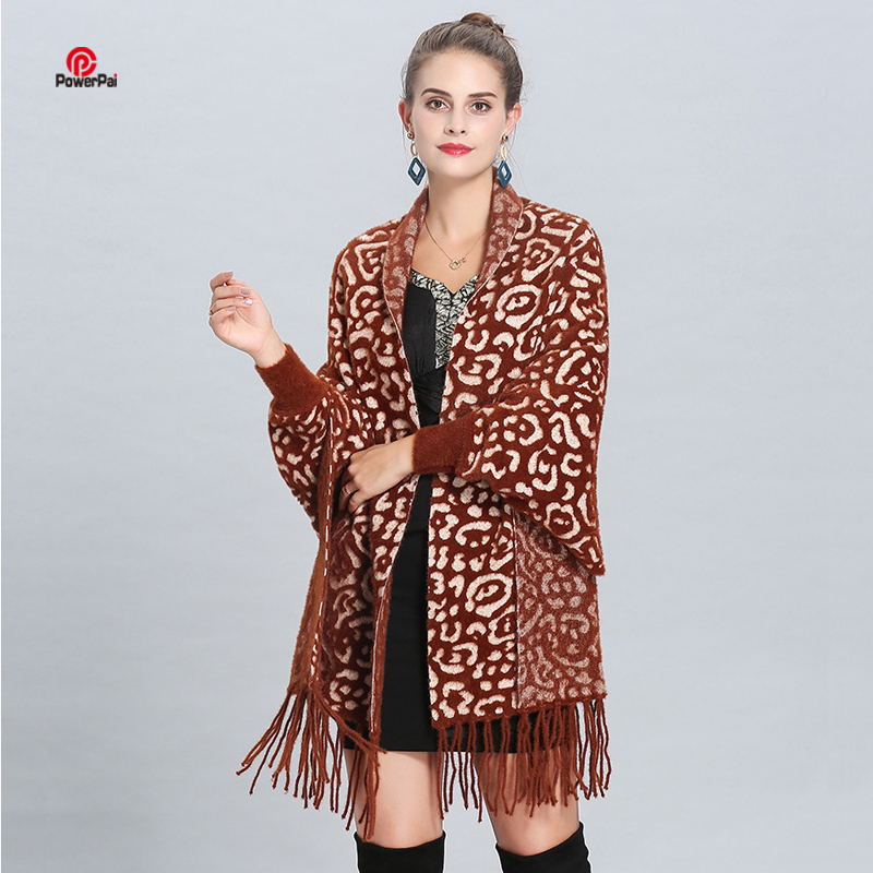 Fashion Sexy Leopard Imitated Mink Cashmere Shawl Cape Long Sleeved Pashmina Jacquard weave Wraps Coat Women Autumn Winter Scarf