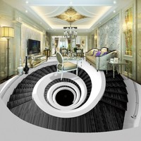 Free shipping custom Art Rotating Stairs Living Room Bedroom 3D Floor waterproof thickened chinese style murals wallpaper