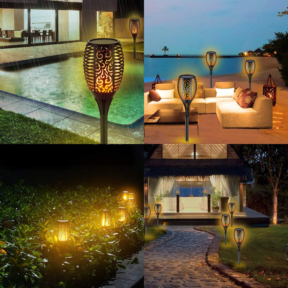 Solar Powered Outdoor Torch Lights 96 LED Flickering Flames Path Lights Waterproof Yard Garden Decoration Dancing Flames Lantern in Solar Lamps from Lights Lighting