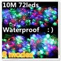 Colorido 5 m/10 m 72 Led 8 modos de 220 v impermeable luz de la secuencia de 2015 led de navidad guirnalda Controlador conector de enchufe de LA UE al aire libre