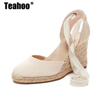 Teahoo Women Ankle Strap Espadrilles Wedge Sandals 2017 Summer Canvas Platform Wedges Fashion Lace Up Women