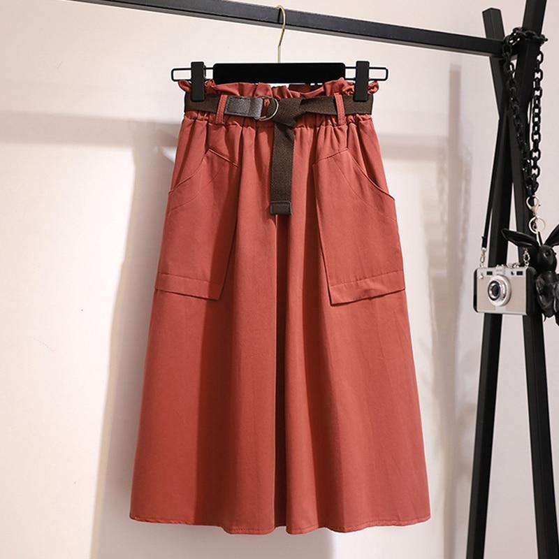 Surmiitro Midi Knee Length Summer Skirt Women With Belt 19 Spring Casual Cotton Solid High Waist Sun School Skirt Female 11