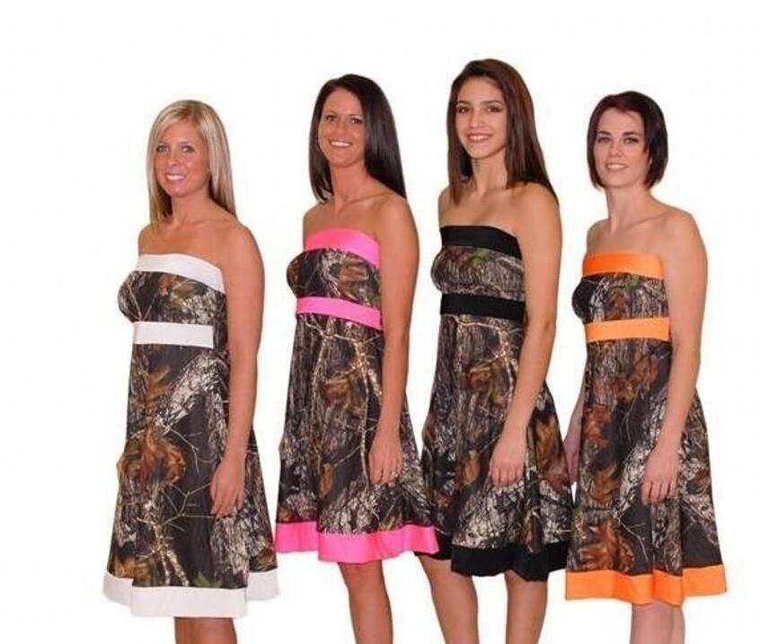 6f906dbbda049 Camouflage Camo Bridesmaid Dresses Cheap Strapless Empire A Line Short  Woman Wedding Party Dress robe demoiselle d'honneur B48