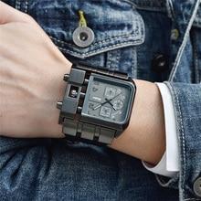 Oulm marka oryginalny unikalny Design kwadratowy zegarek męski szeroki duża tarcza pasek skórzany na co dzień zegarek kwarcowy męskie zegarki sportowe