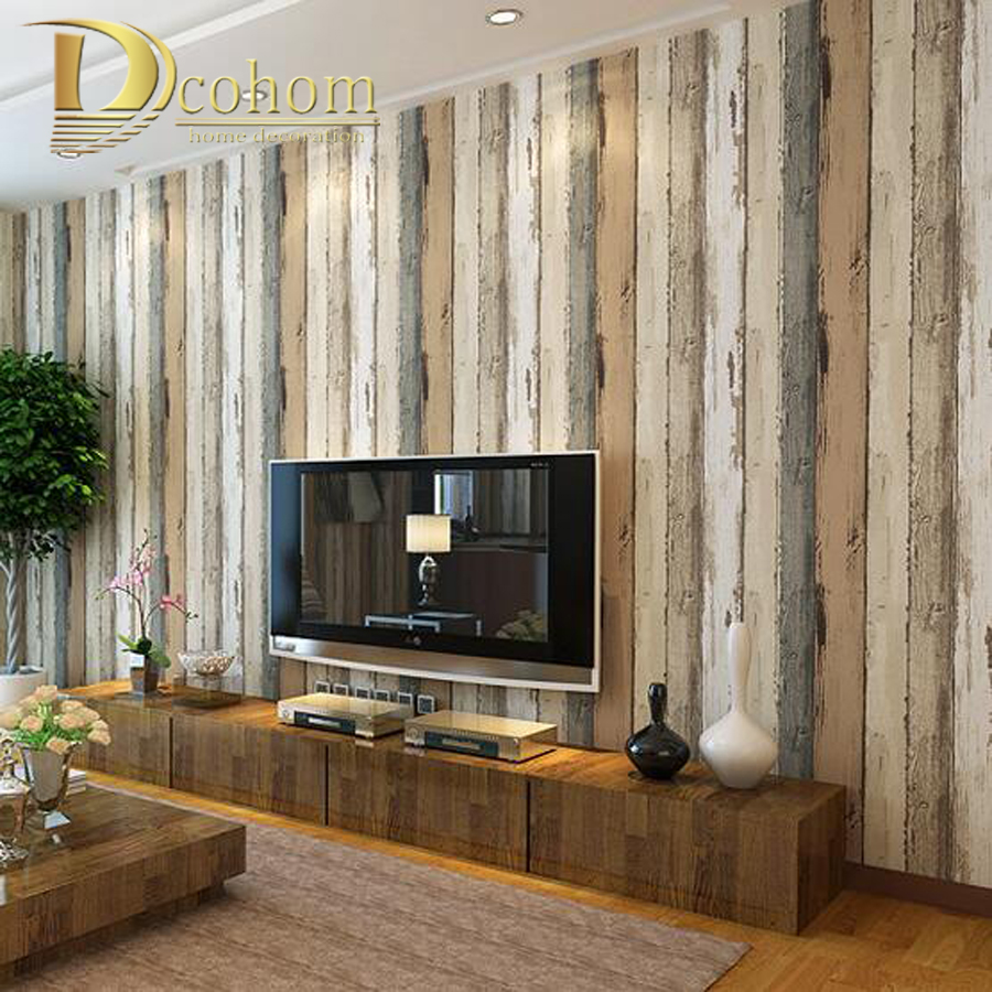 Buy mediterranean vintage 3d textured wood striped wallpaper bedroom living - Separateur de piece ...