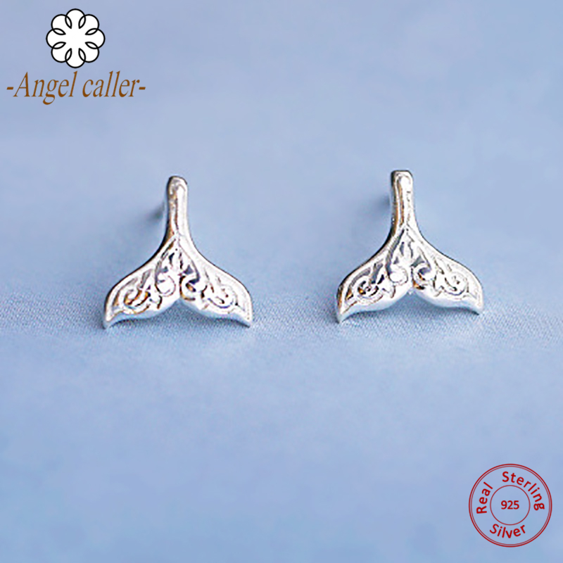 Angel Caller Genuine 925 Sterling Silver Ocean Sea Mermaid Stud Earrings for Women Girls Romantic Fine Jewelry 2018 New Arrival