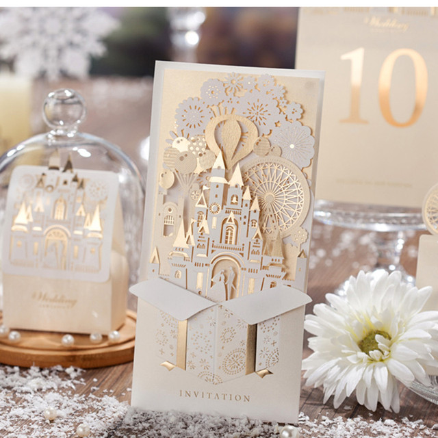5pcs/lot Fashionable Laser Cut Gold Paper with Hollow Creative Castle Wedding Invitation Card Event & Party Accessories