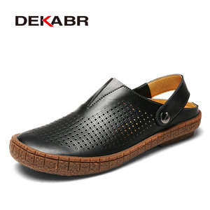 Image 5 - Мужские сандалии из сплит кожи DEKABR, коричневая летняя пляжная повседневная обувь, воздухопроницаемые туфли ручной работы для мужчин, лето 2019