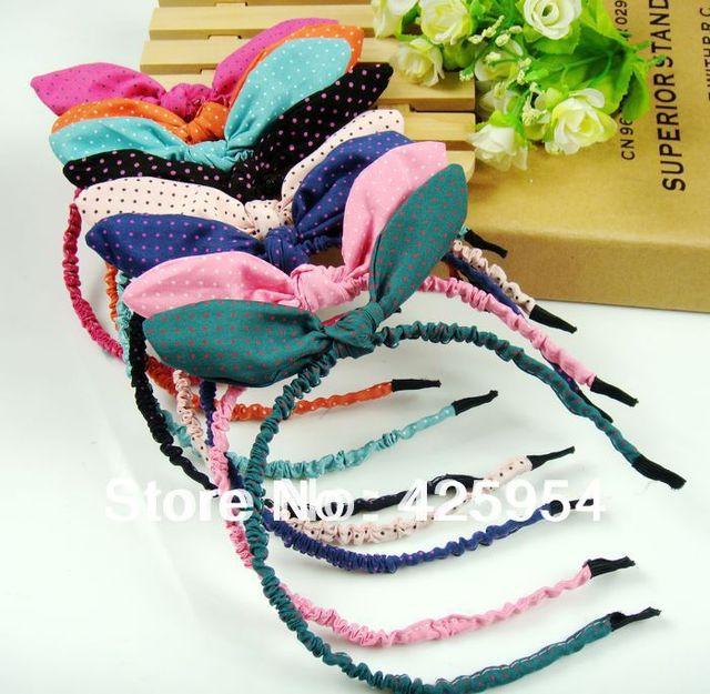 6pcs/lot/Small Dots Plaid Headband Rabbit Ears Hairpin / Girl Princess Tiara / Color mixing