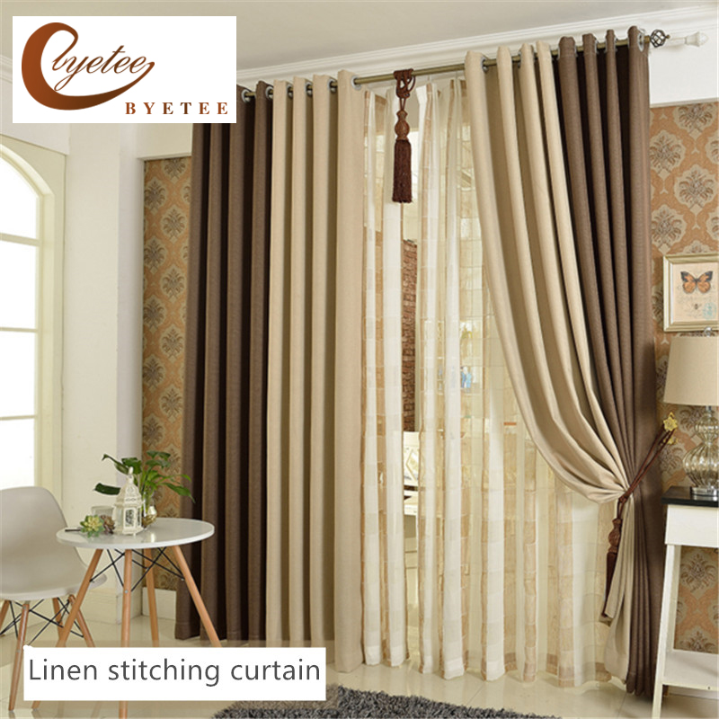 {Byetee} Kitchen Blackout Faux Cotton Linen Tires Shading Simple Living Room Bedroom Product Customized Stitching Curtain
