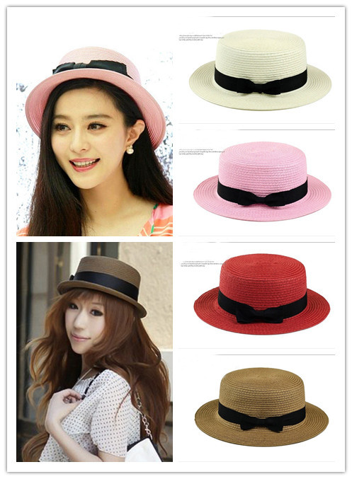 Straw bowknot small straw hat fashion travel of England women summer sun hat  Free Shipping 618c0322f87