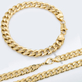 9mm Hammered Curb Cuban Necklace Bracelet Chain Jewelry Sets Gold Filled Necklace Bracelet Sets mens chain womens GS03