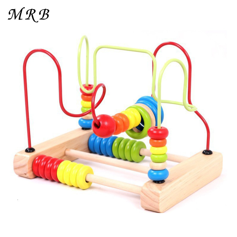 Baby kids Wooden Toys Counting Circles Bead Abacus Wire Maze Roller Coaster Wooden Montessori Educational Toy for Chilrden solar powered roller coaster model kit educational toy