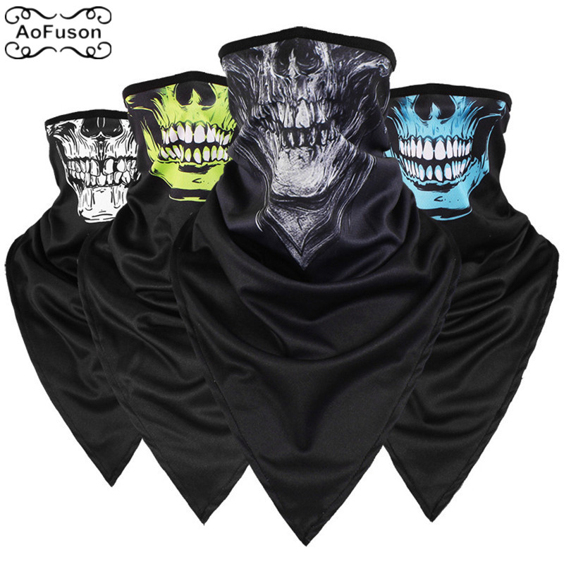 Skull Triangular Mask Quick-drying Breathable Collars Wind And Sand CS Tactical Riding Camping Skiing Long Sunscreen Mask Scarf