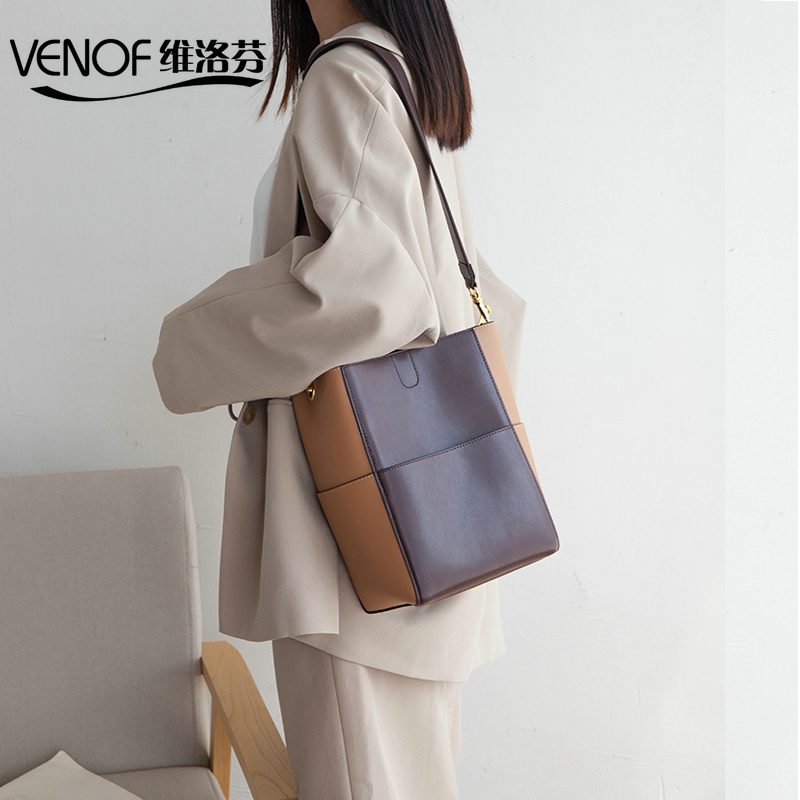 VENOF split leather Shoulder Bags for women wide straps bucket bag top grade ladies Messenger Bag elegant female composite bags рибомунил таблетки 750 мг n4