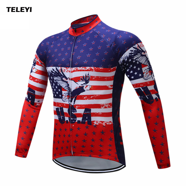 TELEYI 2018 Team Cycling Jersey Ropa Ciclismo USA Mens Long Sleeve Cycling  Clothing Mountain Bike Mens Cycling Tops Size  S-4XL 4377ce77c