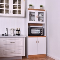 Tall Shelves Microwave Cart Stand Kitchen Storage Cabinet White Kitchen Cabinet Glass and Wood Plate Kitchen Furniture HW56197