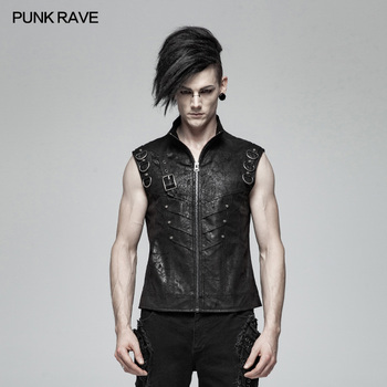 PUNK RAVE Mens Vest Punk Waistcoat Personality Sleeveless Rivet Fashion Hip Hop Streetwear Vest Summer Stage Cosplay Jacket Vest