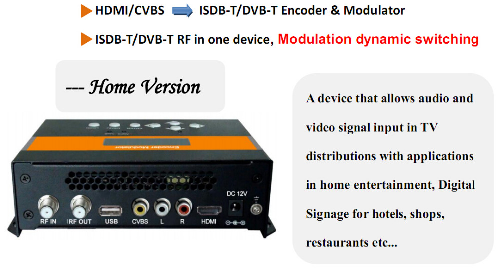 HDMI input HD AV input single-channel MINI ISDB-T Modulator Compact For Brazil/Chile cafe tacvba chile