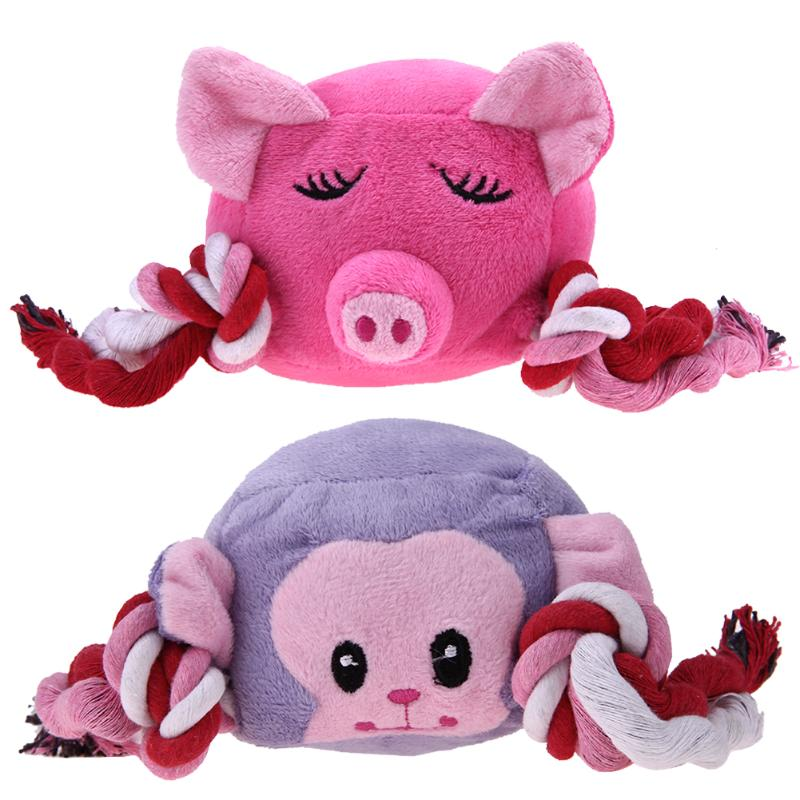 Dog Cat Toys Soft Cute Animal Stuffed Plush Cartoon Pig Shape Sound Squeak Playing Doll Toy Pet Dogs Cats Goods Supplies