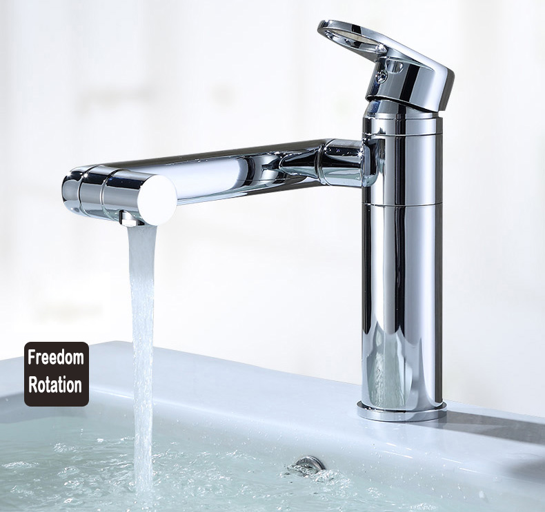 High Spout Bathroom Faucet: Basin Faucet Free Rotated High Spout Single Handle For