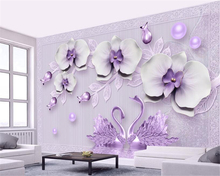 Beibehang 3D Wallpaper Stereo Luxury Butterfly Swan Romantic Jewelry TV Background Wall Living Room Bedroom Mural wallpaper