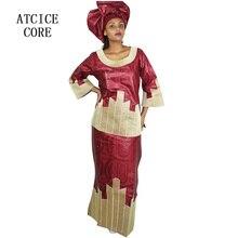 Африканская мода платье хлопок Африканский Базен riche вышивка для женщин топ с юбкой W017