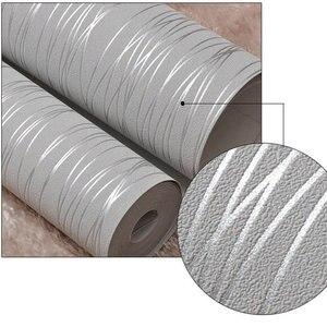 Image 5 - Из нетканого материала модные тонкие стекаются вертикальные полосы обои для Гостиная диван Задний план стены дома обои 3D серый серебристый