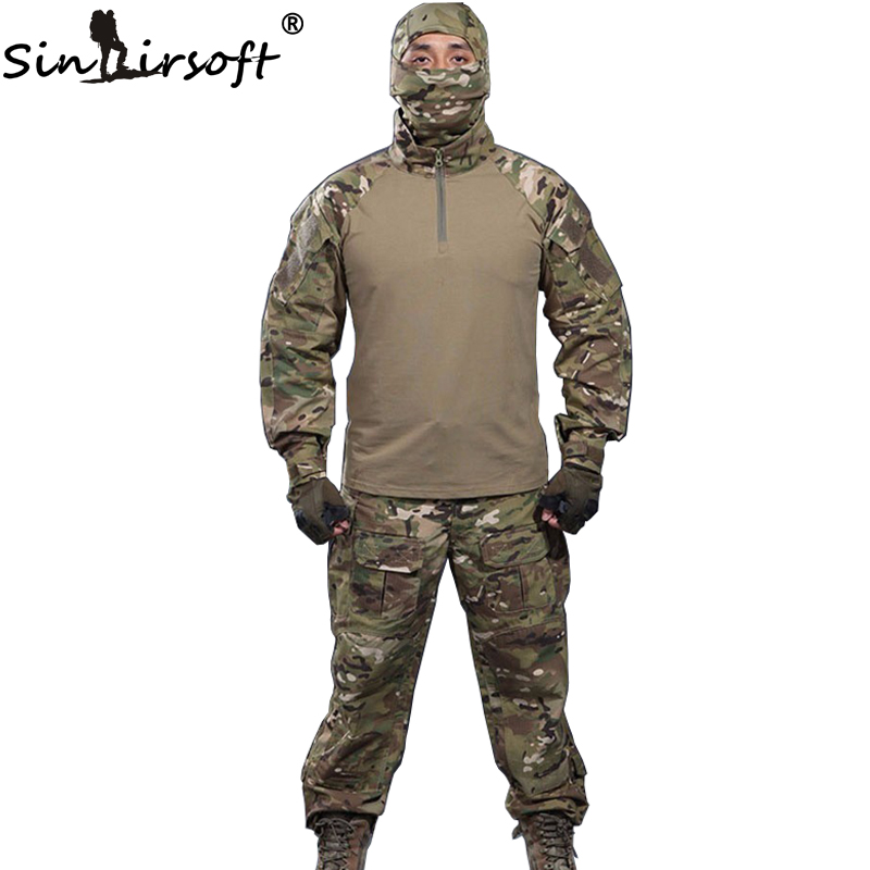 SINAIRSOFT 6 colors ! Mask gift! Military Tactical shirt + pants Multicam Uniforms Uniform Airsoft Paintball Army Hunting  Suit brand new skull skeleton army airsoft tactical paintball full face protection mask
