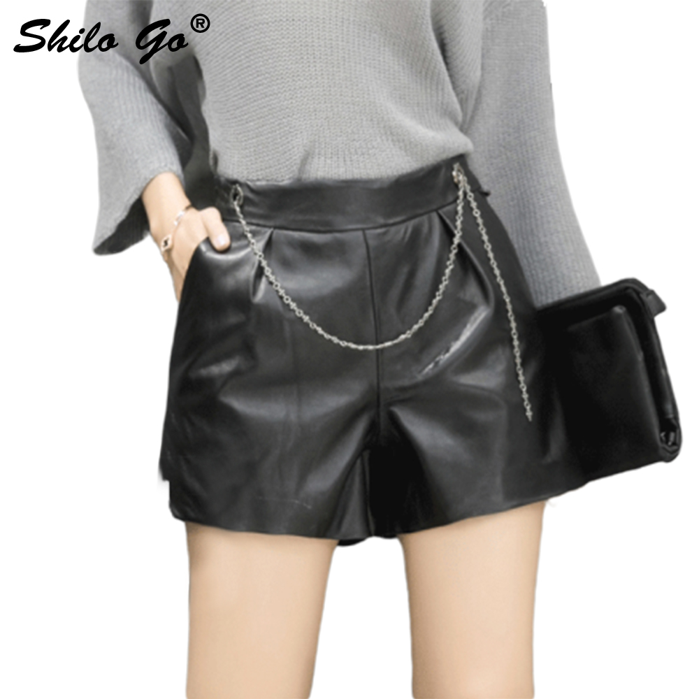 SHILO GO Fashion Street Women Empire Sexy Coat Shorts Ports Sheepskin Genuine Leather Shorts Ladies Concise Shorts Good Quality