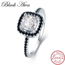 [BLACK AWN] 3.1g Genuine 925 Sterling Silver Jewelry Row Black Stone Engagement Rings for Women Square Zircon Wedding Rings C435